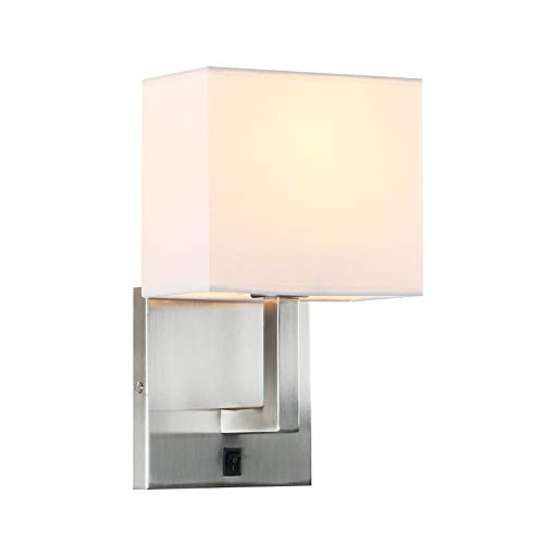 Permo Single Wall Sconce Light Fixture Brushed Finish with White Textile Shades and On/Off Switch Button Small Modern Nightstand Lamps for Bedrooms Bedside Reading