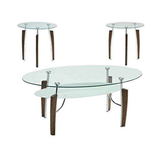 Coaster Home Furnishings Leskow 3-piece Occasional Table Set Cappuccino and Chrome