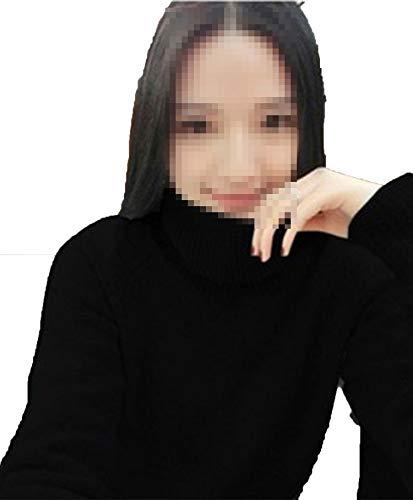Winter Cashmere Sweater Women high Collar Thickening Woollen Pure Color Basic Sweater,Black,M]()