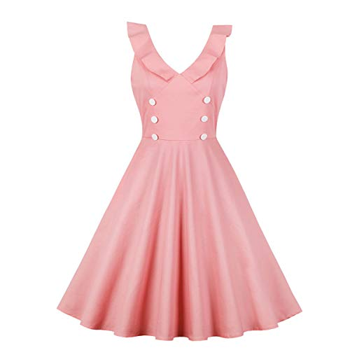 JESPER Fashion Women Cute Solid Ruffles V-Neck Button Sleeveless Casual Ball Gown Circle Dress Pink