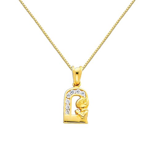 14k Yellow Gold CZ Prayer Pendant with 0.65mm Box Link Chain Necklace - 22