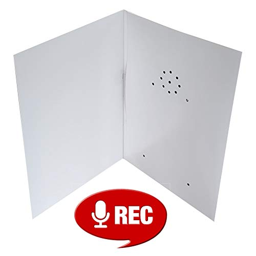 Recordable Greeting Card, 40 Seconds with Replaceable Batteries. Plain White DIY. Record and Send Your own Personal Voice Message.