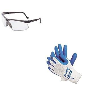 KITMPG9680LUVXS3200X - Value Kit - Memphis FlexTuff Latex Dipped Gloves (MPG9680L) and Uvex Genesis Safety Eyewear (UVXS3200X)