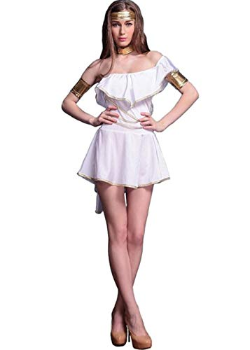 Womens Sexy White Greek Goddess Costumes,One Shoulder Flounce Mini Dress Grecian Goddess Halloween Costume One Size (M)]()