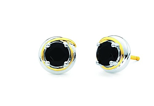 18K Yellow Gold and 925 Sterling Silver Black Onyx Stud Gemstone Earrings by Boston Bay Diamonds