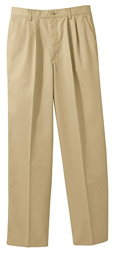 Edwards Men's Blended Chino Pleated Pant, TAN, 48 - Mens Blended Chino