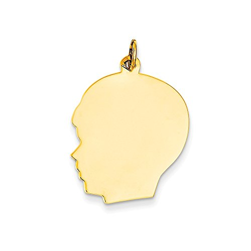 14k Yellow Gold Large 0.013 Gauge Facing Left Engravable Boy Head Charm Pendant (Gauge Engraveable Boy Charm)