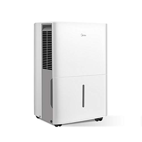 MIDEA MAD70C1YWS Dehumidifier 70 Pint with Reusable Filter, Ideal for basements, bedroom, bathroom, with bucket of 1.6 gallon,