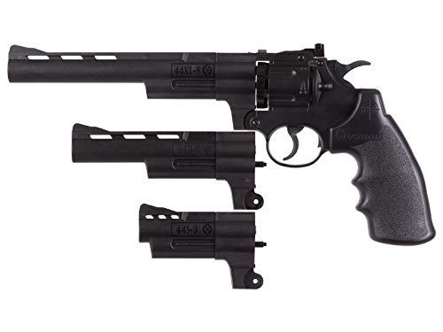 Crosman CR44TTKT Triple Threat CO2 Powered Semi-Auto Dual Ammo Air Revolver with 3, 6 and 8-Inch Barrel