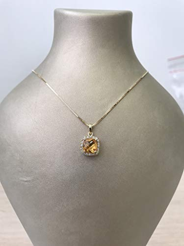 Diamond Prong Necklace Citrine - Solid gold handmade cushion cut citrine and diamond halo necklace