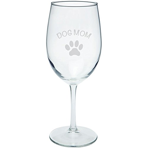 Mother's Day - Dog Mom Etched Wine Glass (Sea Dog Costume)