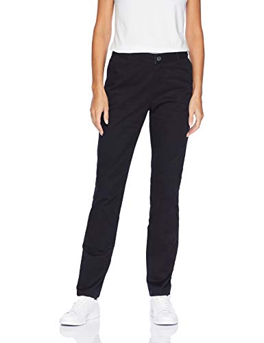 Amazon Essentials Women's Straight-Fit Stretch Twill Chino Pant, Black, 10 Regular