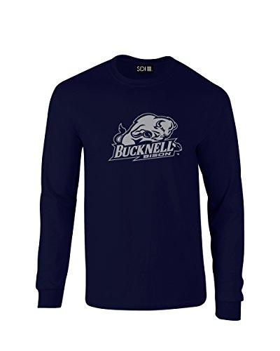NCAA Bucknell Bison Mascot Foil Long Sleeve T-Shirt, Small, Navy