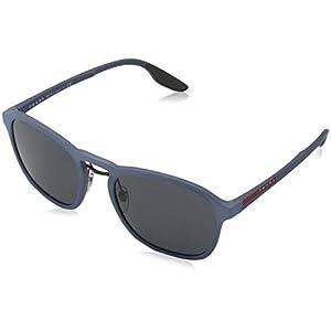 Prada Linea Rossa Men's PS 01SS Sunglasses Opal Avio Rubber/Grey 53mm