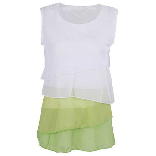 mujeres de Verde 3XL Volantes Cascada La Sin R SODIAL Tirantes de de Lindo La Mangas de Camiseta Camisa las gasa Blusa RXnHqzaw