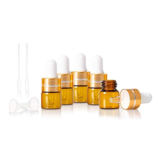 Sampling Fragrance - 50PC 1ML Amber Small Glass Dropper Bottles Perfume Sampling Vials for Essential Oil with Free Dropper