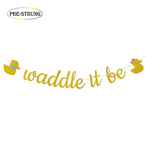 Waddle It Be Gold Glitter Duck Gender Reveal Party Banner