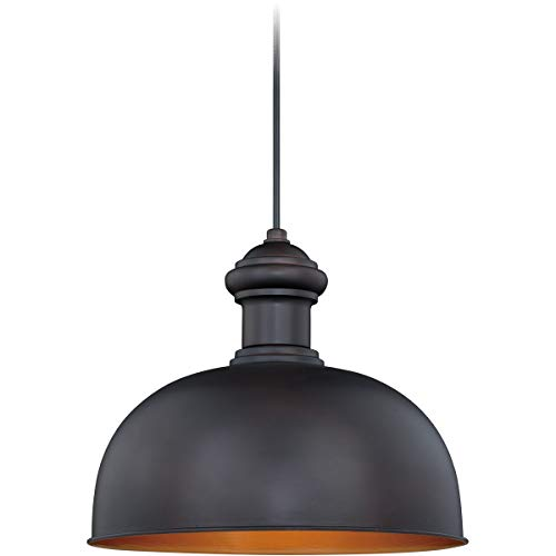 Outdoor Pendant 1 Light Fixtures with Oil Burnished Bronze and Inner Light Gold Finish Steel Material Medium 13