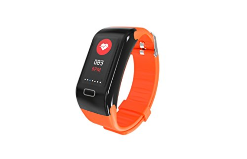 Heart Monitor Pro Rate Watch (Fitness Tracker, X7 Pro Smart Bracelet Watch with Heart Rate and Sleep Monitor and Weather Tracker, IP70 Waterproof Pedometer Steps and Calorie Counter for Android and iOS for Kids Women Men - Orange)