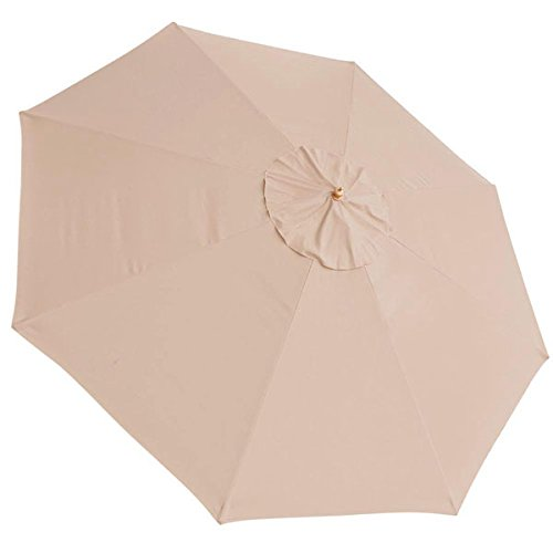Oversized 13-Foot/ 13 Ft Polyester 8-rib Umbrella Replacement Canopy Tan Color for Outdoor Patio Cover Furniture Beach Market Stall UV Sun Protect Water Resistant