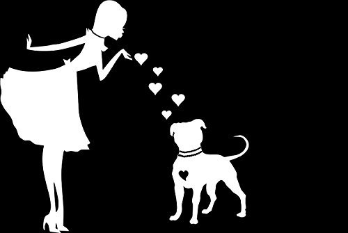 (PITS and PEARLS PITBULL Dog Vinyl Car Decal, Laptop Decal, Car Window Wall Sticker | White | 6 X 6 In… | CCI184)