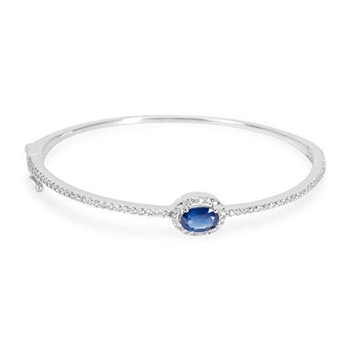 Diamond & Sapphire Bangle Bracelet (Diamond & Sapphire Bracelet in 14KT White Gold 0.75 ctw)