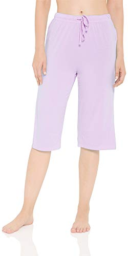 (LazyCozy Women's Bamboo Capri Sleep Pants, Purple, Medium)