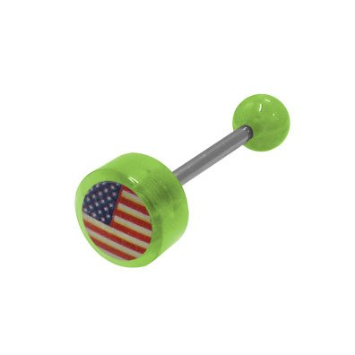 (BodyJewelryOnline US Flag Logo Barbell Tongue Ring)