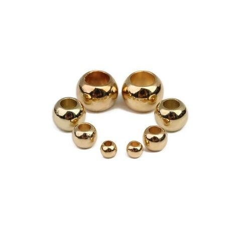 Linsoir Beads 4mm/6mm/8mm/10mm/12mm Round CCB Spacer Beads Plastic Bead Spacers Gold/Rhodium/Rose Gold Ball Spacer Beads with Large Hole 100 pcs/lot