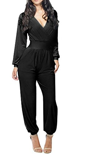 Harem Girl Costume Plus Size (Taiycyxgan Women's Long Sleeve V-neck with Waistband Jumpsuit (L, Black))