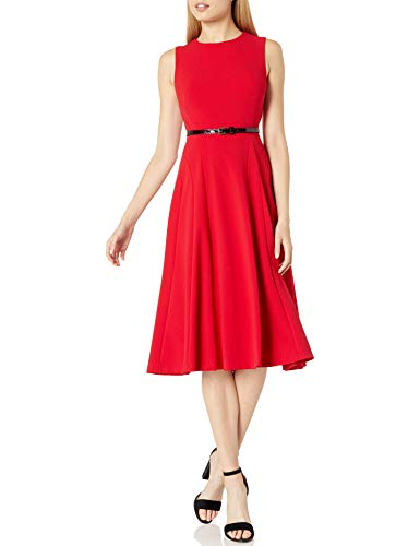 Tommy Hilfiger Women's Sleeveless Belted Midi Fit and Flare, Scarlet, 6