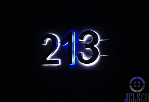 Backlit LED House Numbers (8 Inch Blue) Big, Modern Address Signs for Homes | Soft, Exterior Glow | Brushed Stainless-Steel Finish | Weather Resistant, Durable, Wired | by JELSCO (4) by JELSCO (Image #4)