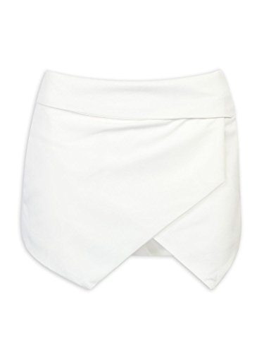 CR Women's White Asymetric Hem Tulip Plain Mid Waist Skorts,Medium