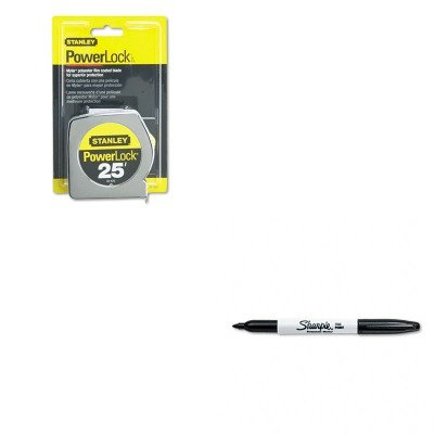 KITBOS33425SAN30001 - Value Kit - Powerlock II Power Return Rule, 1quot; x 25 ft., Chrome/Yellow (BOS33425) and Sharpie Permanent Marker ()