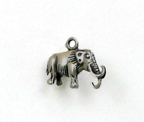 (Sterling Silver 3-D Woolly Mammoth Charm - Jewelry Accessories Key Chain Bracelet Necklace Pendants)