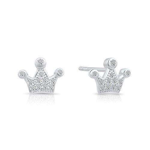 Sterling Crown Regal Silver - Sterling Silver Cubic Zirconia Tiny Crown Stud Earrings