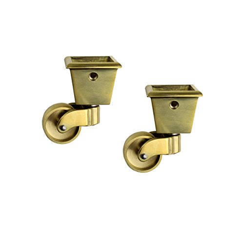 RZDEAL 2PCS Universal Caster 360 Degree Rotation Square Cup Brass Heavy Wheel Hardware Movable for Trunk Box Furniture Cabinet Sofa Trolley Chairs Bed