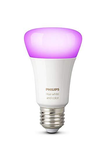 Philips Hue White and Color Ambiance - Pack de 4 bombillas LED E27, 9,5 W, iluminación inteligente, 16 millones de colores, compatible con Amazon Alexa, ...