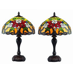 Tiffany Style Rose Tree Lamp Set