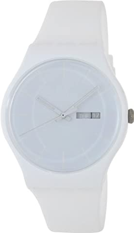 Swatch SUOW701 rebel white dial plastic strap unisex watch NEW (Sport Swatch Men)