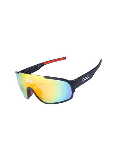 Polarized Sports Cycling Glasses Goggles for Men Women with 3 Interchangeable Lenses (Frame:Black,Lens:Red) ()