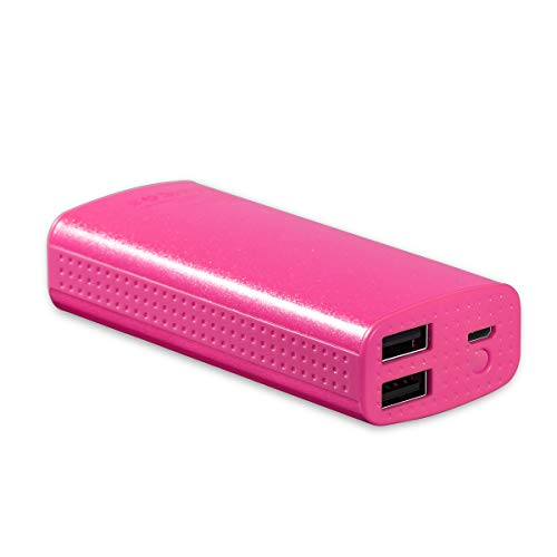 Casepar 6000mAh Ultra Compact Delicate Portable External Battery Charger, Fast Power Bank Dual Smart Output for iPhone Samsung and All 5V Device,Colorful Family and Carrying Case Included(Spark Pink)