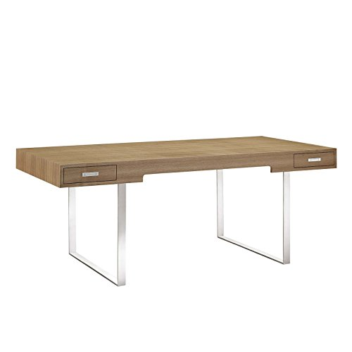 Modway Tinker Contemporary Modern Wood and Stainless Steel Office Desk With Two Drawers in Natural