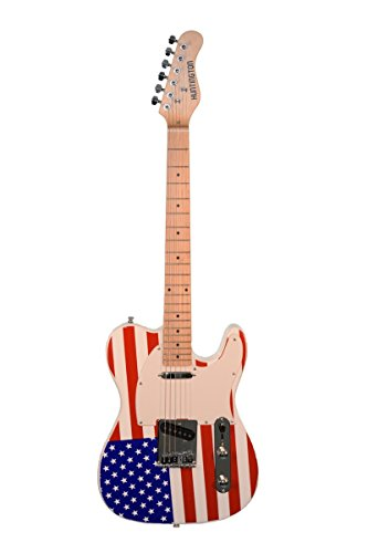 (Patriotic American Flag Electric Guitar, Telecaster Style Red White & Blue)