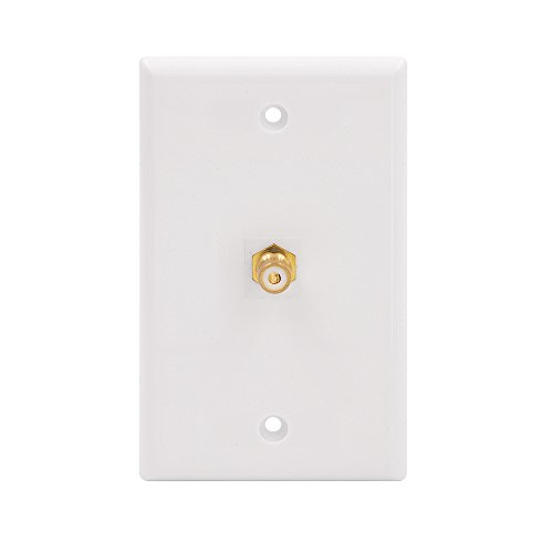 (VCE Single RCA Connector Wall Plate for Subwoofer Audio Port-White)