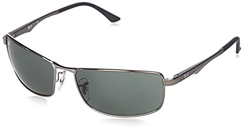 Ray-Ban RB3498 Sunglasses Gunmetal / Green 64mm & Cleaning Kit - Used Ban Ray