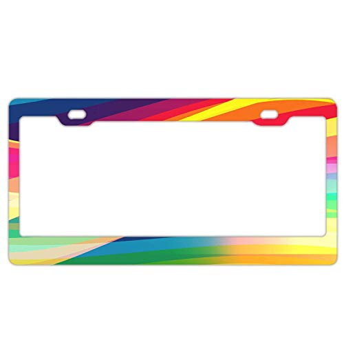 YEX Abstract Colorful Lines Abstract License Plate Frame Car License Plate Covers Auto Tag Holder 6