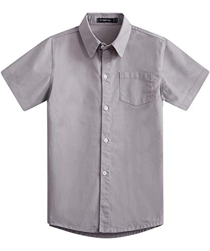 Spring&Gege Boys' Short Sleeve Solid Formal Cotton Twill Dress Shirts Silver 9-10 -
