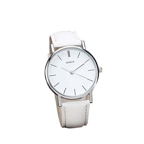Usstore unisex Retro Design Faux Leather Band Analog Alloy Quartz Wrist Watch For women's men's (White)