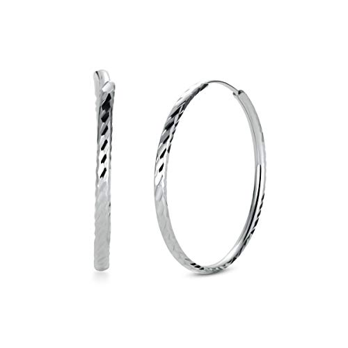 T400 925 Sterling Silver Hoops Polished Round Circle Hoop Earrings Small and Large 25 35 45 55 65 mm Women ()